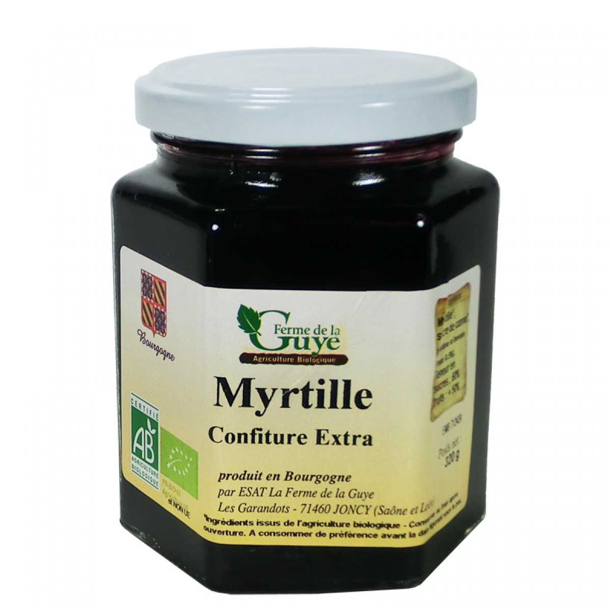 confiture myrtille 320g bio ferme de guye saveurs de bourgogne vente de produits du terroir. Black Bedroom Furniture Sets. Home Design Ideas