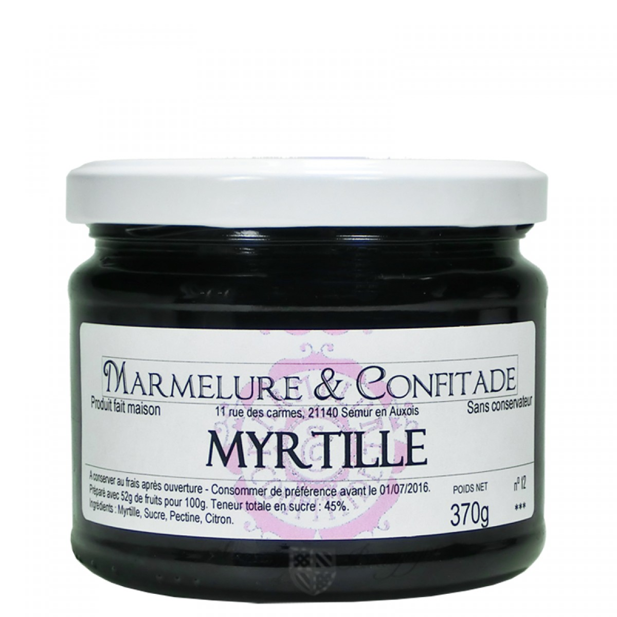 confiture myrtille 370g marmelure confitade saveurs de bourgogne vente de produits du terroir. Black Bedroom Furniture Sets. Home Design Ideas
