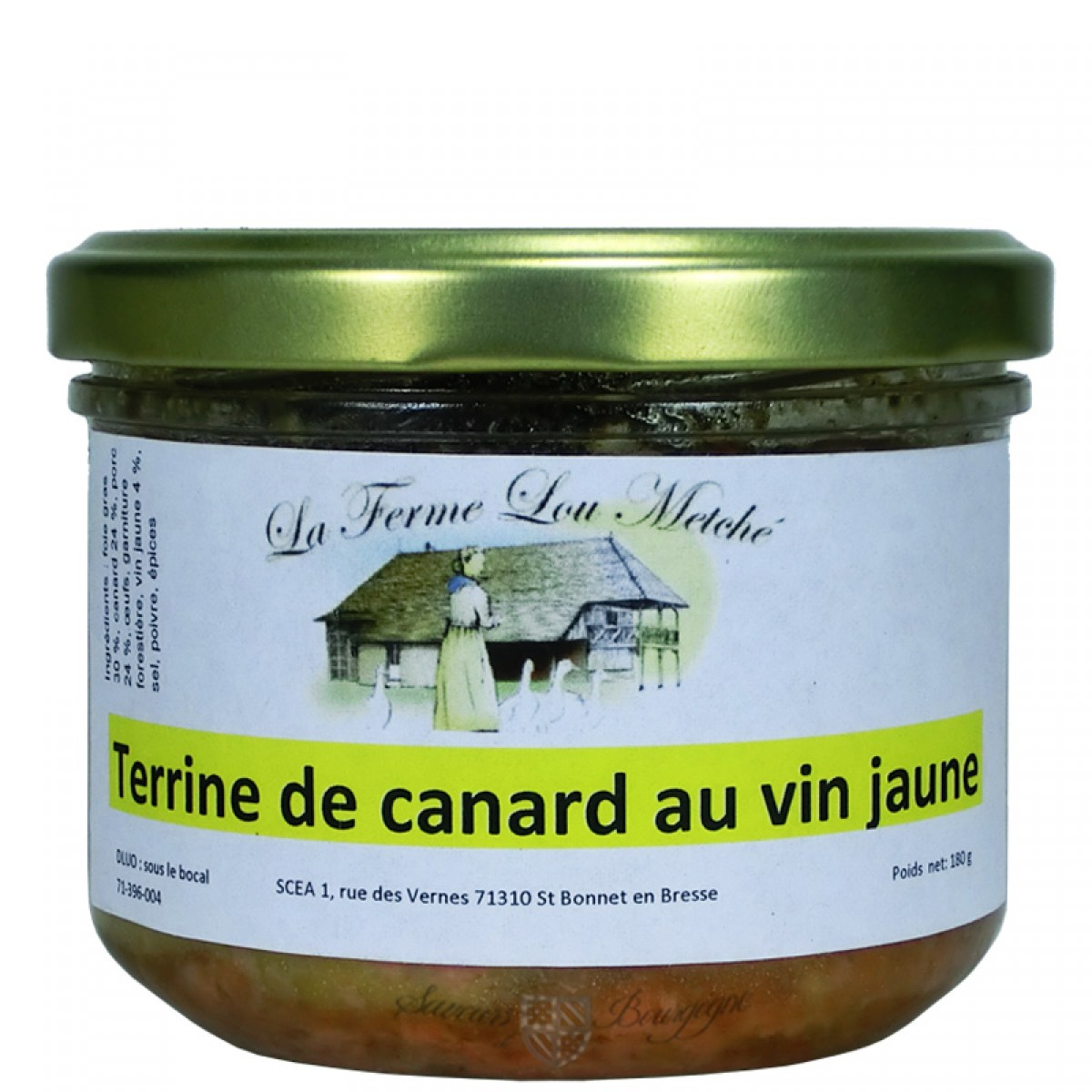 terrine de canard au vin jaune 180g saveurs de bourgogne vente de produits du terroir. Black Bedroom Furniture Sets. Home Design Ideas