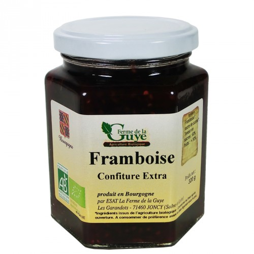 Confiture Framboise 320g bio ferme de Guye