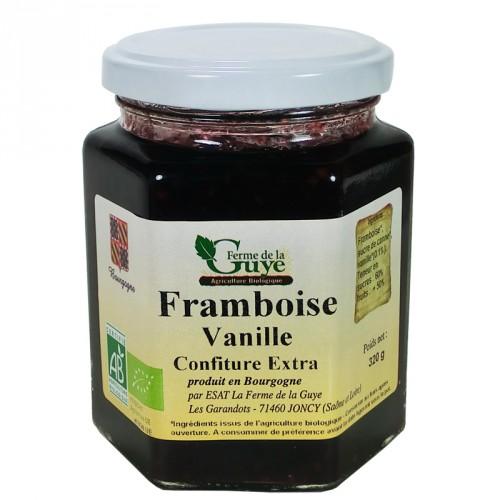 Confiture Framboise-Vanille 320g bio ferme de Guye