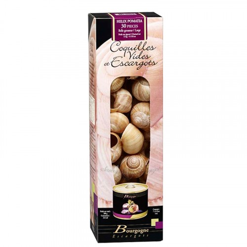 """Escargots de Bourgogne """"très gros"""" boîte 1/4 2Dz 125g avec coquilles Bourgogne Escargots"""