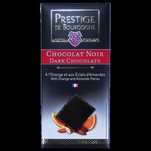 Tablette Chocolat Noir à l'Orange et aux éclats d'Amandes 100g