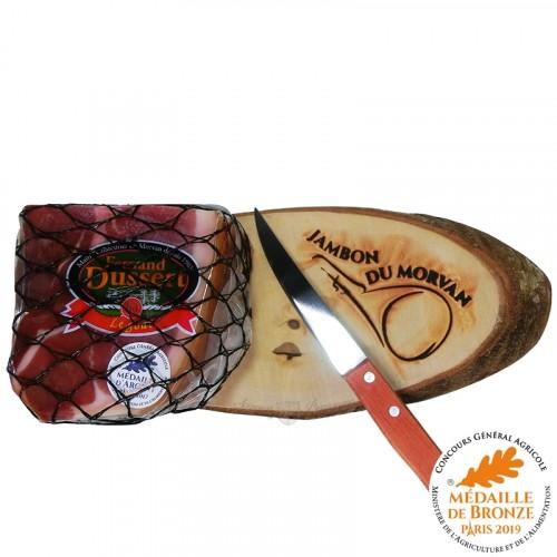 Quart de Jambon sec du Morvan 9 Mois 800g avec sa planche et son couteau