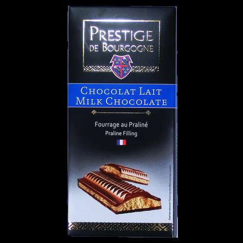 Tablette Chocolat Lait fourrage praliné 200g Prestige de Bourgogne
