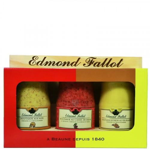 Trio Gourmand de 3 moutardes 100g sur présentoire bois Fallot