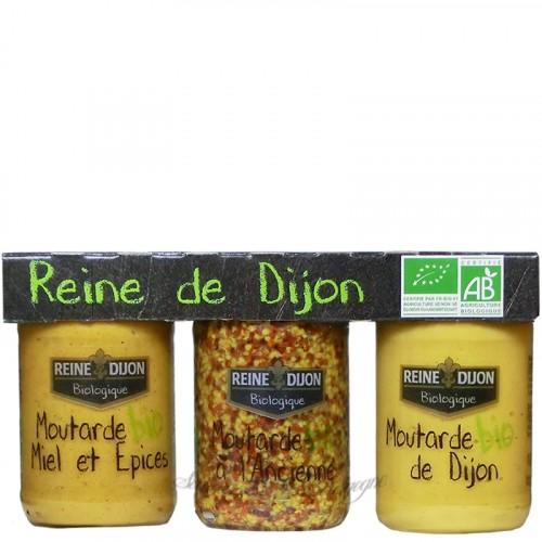 Trio Moutarde Bio 100g - Reine de Dijon