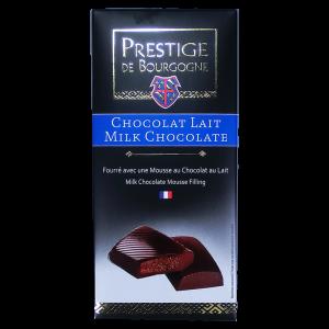 Tablette Chocolat au lait fourré à la mousse de chocolat au lait 160g Prestige de Bourgogne