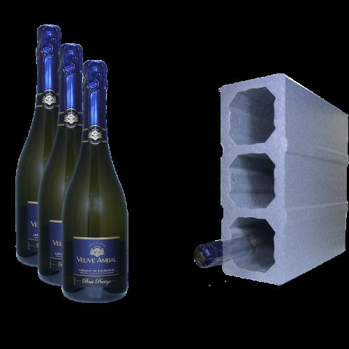 Crémant de Bourgogne - Brut prestige 75cl  x 3 - Veuve Ambal + 1 cave gratuite de 3 bouteilles