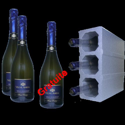 Crémant de Bourgogne - Brut prestige 75cl  x 2 + 1 Gratuite  - Veuve Ambal