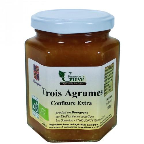 Confiture 3 Agrumes 320g  Bio ferme de Guye