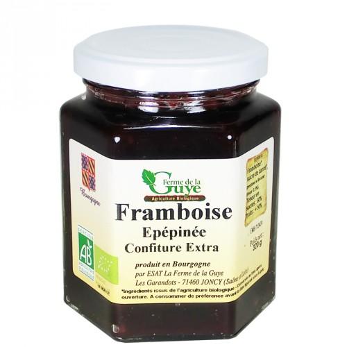 Confiture Framboise épépinée 320g bio ferme de Guye