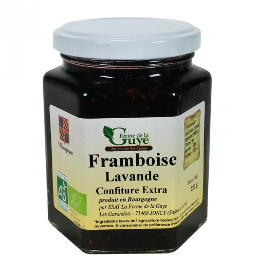 Confiture Framboise-Lavande 320g bio ferme de Guye