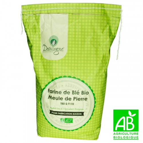 Farine de blé bio Meule de pierre T80 à T110 5Kg