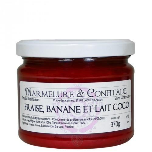 Confiture Fraise, banane et lait coco 370g Marmelure & Confitade