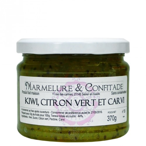 Confiture Kiwi, citron vert et carvi 370g Marmelure & Confitade