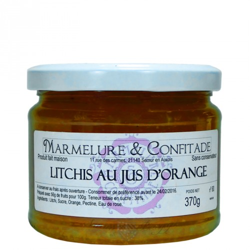 Confiture Litchis au jus d'orange 370g Marmelure & Confitade