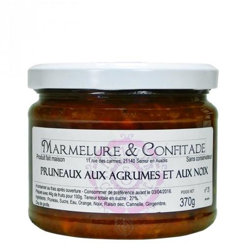 Confiture Pruneaux aux agrumes et aux noix 370g Marmelure & Confitade
