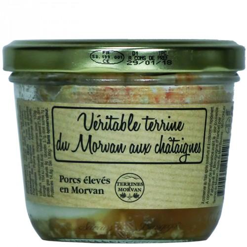 Véritable terrine du Morvan aux châtaignes 180g (Porcs élevés en Morvan)