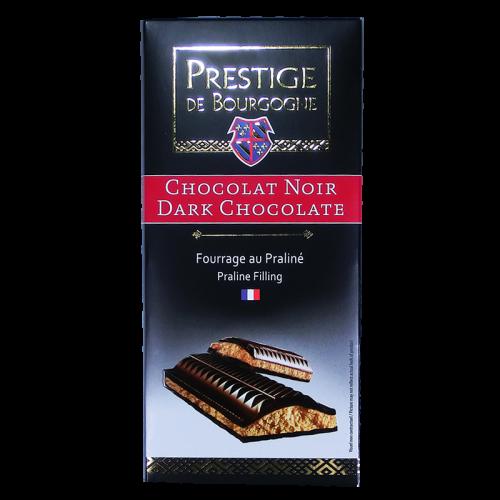 Tablette Chocolat Noir fourrage Praliné 200g Prestige de Bourgogne
