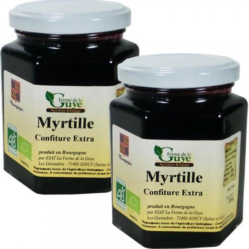 Confiture Myrtille 320g bio ferme de Guye DLUO 11/08/2018 + 1 Gratuit