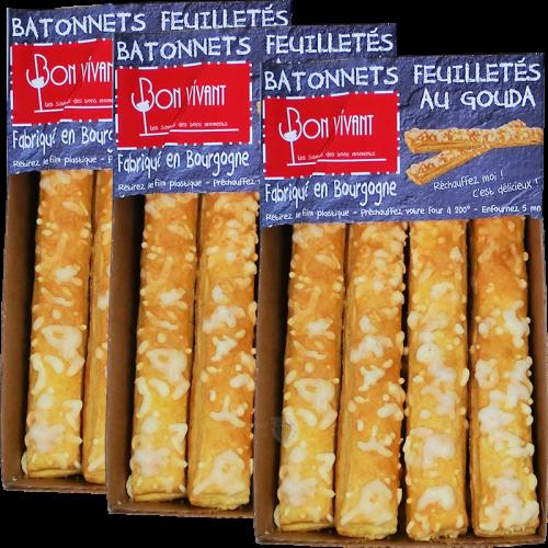 Bâtonnets feuilletés au Gouda pur beurre 80g DLUO 31/07/2019 x2 + 1 Gratuit