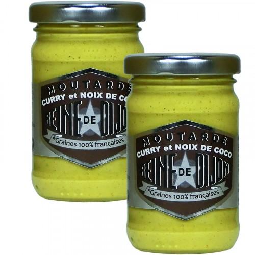 Moutarde au Curry et Noix de coco 100g - Graines 100% Française DLUO 14/09/2018 + 1 Gratuit