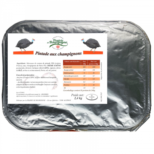 Pintade aux Champignons 2.4Kg - Frairie de Bourgogne