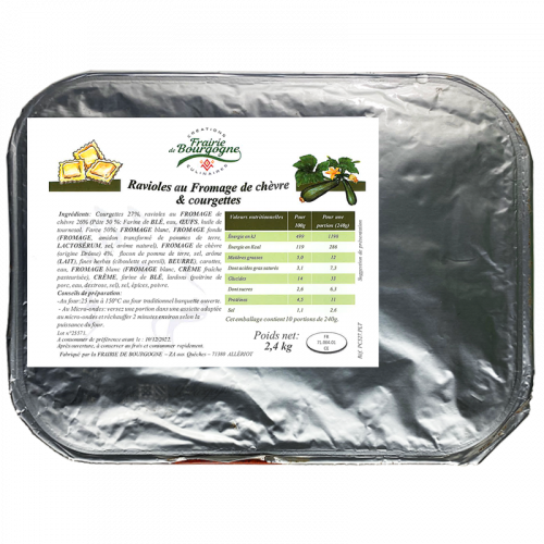 Ravioles au fromage de chèvre et courgettes 2.4Kg - Frairie de Bourgogne