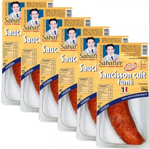 Saucisson cuit courbe fumé 250g x 6 paquets - Livraison uniquement en enlèvement chez nos partenaires