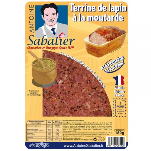 Terrine de lapin à la moutarde à l'ancienne 200g