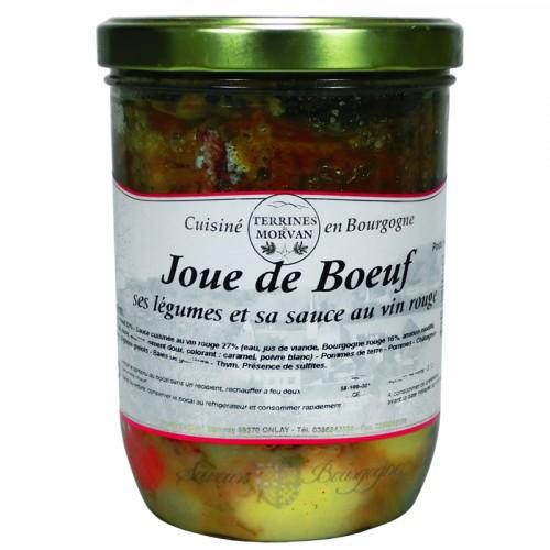 Joue de boeuf, ses légumes et sa sauce au vin rouge 750g
