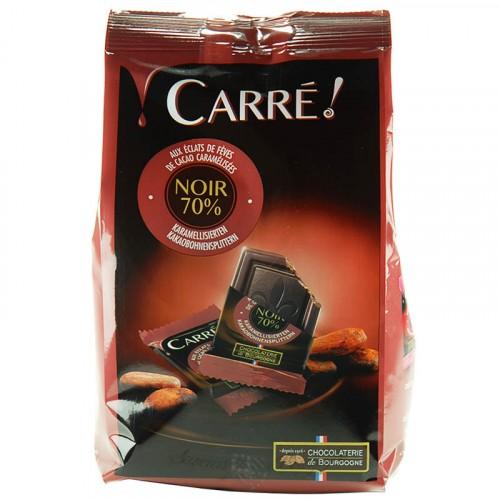 Sachet de Carrés Chocolat Noir 70% aux éclats de fèves de cacao 200g