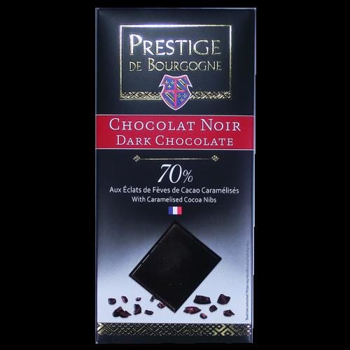 Tablette Chocolat Noir 70% aux éclats de fèves de cacao 100g