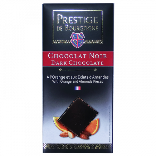 Black Chocolate with Orange and Almond 100g